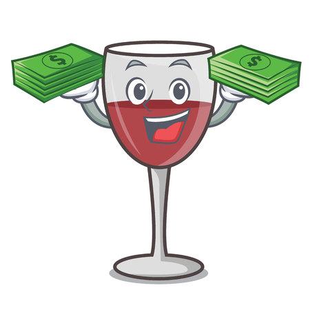 With money bag wine mascot cartoon style vector illustration Векторная Иллюстрация