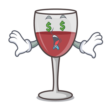Money eye wine mascot cartoon style vector illustration