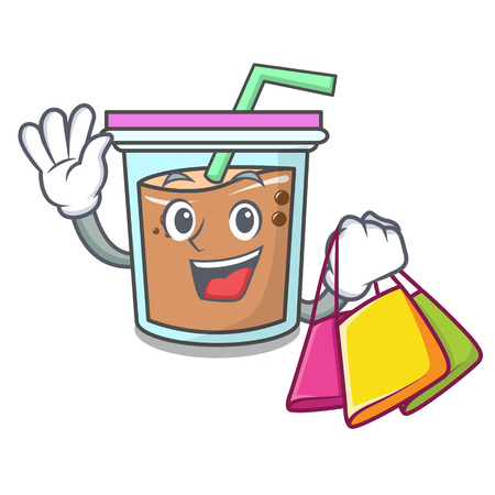 Shopping bubble tea character cartoon vector illustration Imagens - 104186381