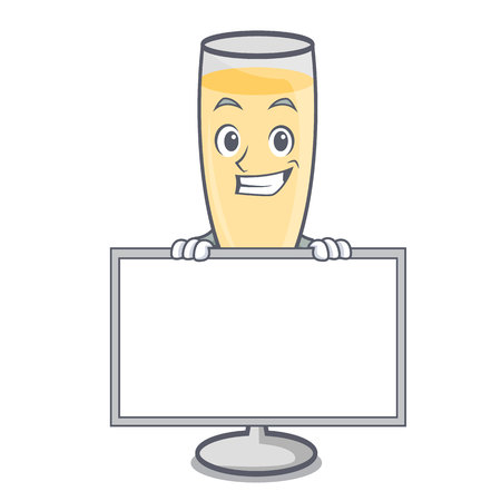 Grinning with board champagne character cartoon style vector illustration