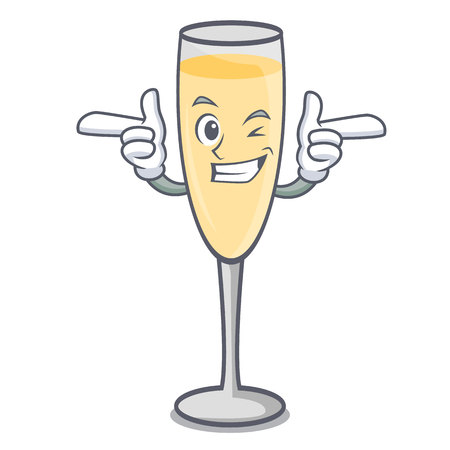 Wink champagne character cartoon style vector illustration