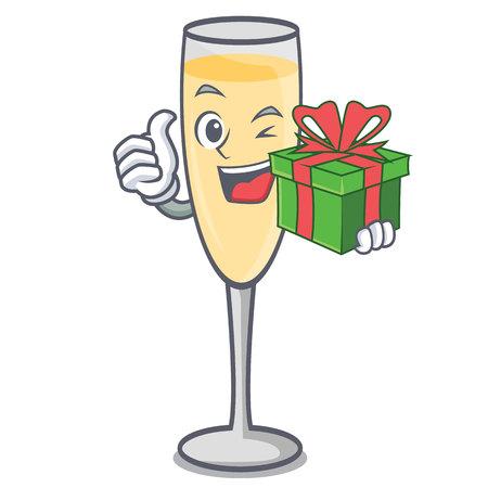 Mit Geschenk-Champagner-Maskottchen-Cartoon-Stil-Vektor-Illustration