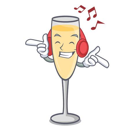Listening music champagne mascot cartoon style vector illustration Vektoros illusztráció
