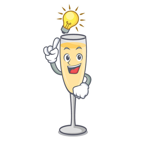 Have an idea champagne mascot cartoon style vector illustration
