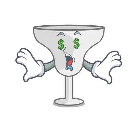 Money eye margarita glass mascot cartoon vector illustration