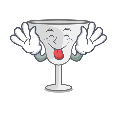 Tongue out margarita glass mascot cartoon vector illustration