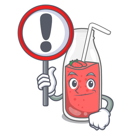 With sign strawberry smoothie character cartoon vector illustration