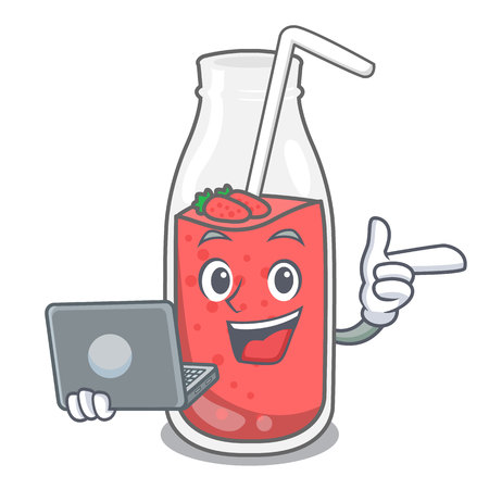 With laptop strawberry smoothie character cartoon vector illustration