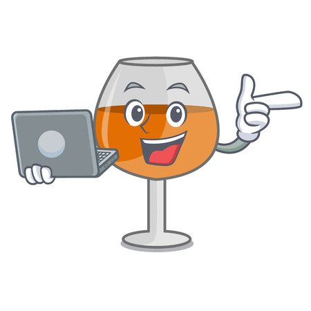 With laptop cognac ballon glass character cartoon vector illustration 向量圖像