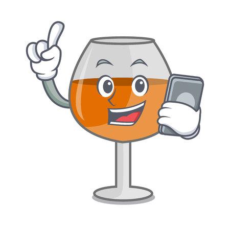 With phone cognac ballon glass character cartoon vector illustration Stock Illustratie