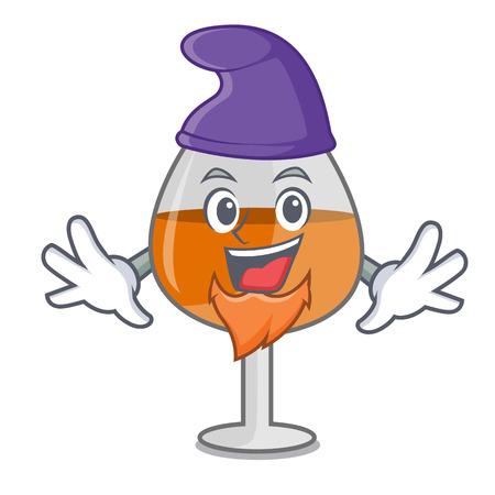 Elf cognac ballon glass character cartoon vector illustration Иллюстрация