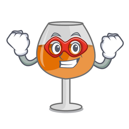 Super hero cognac ballon glass character cartoon vector illustration