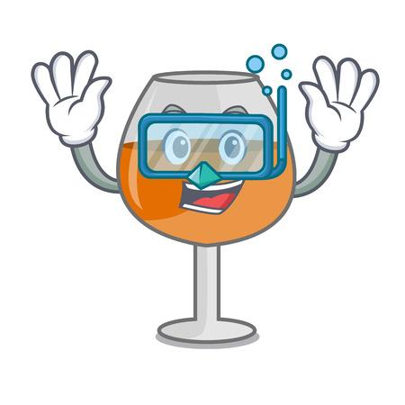Diving cognac ballon glass character cartoon vector illustration Illustration