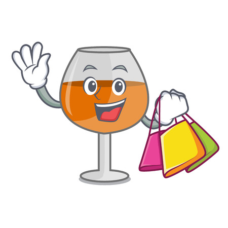 Shopping cognac ballon glass character cartoon vector illustration
