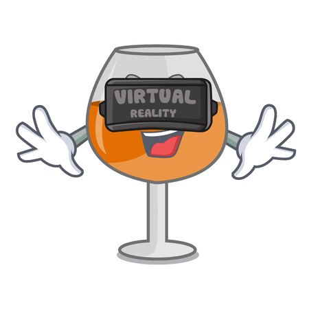 Virtual reality cognac ballon glass character cartoon vector illustration