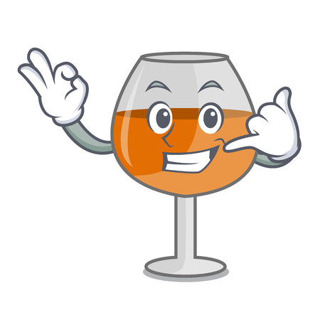Call me cognac ballon glass mascot cartoon vector illustration Stock Illustratie