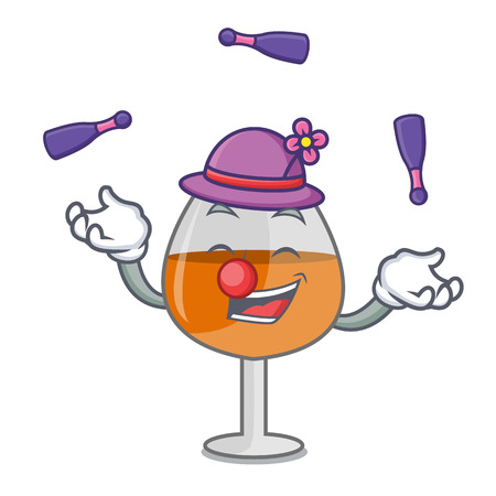 Juggling cognac ballon glass mascot cartoon vector illustration