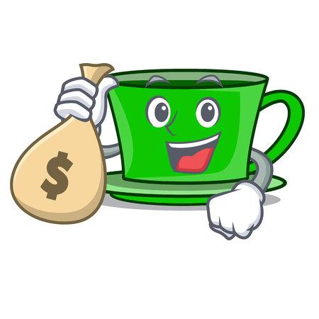 With money bag green tea character cartoon vector illustration