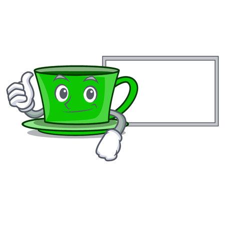 Thumbs up with board green tea character cartoon vector illustration