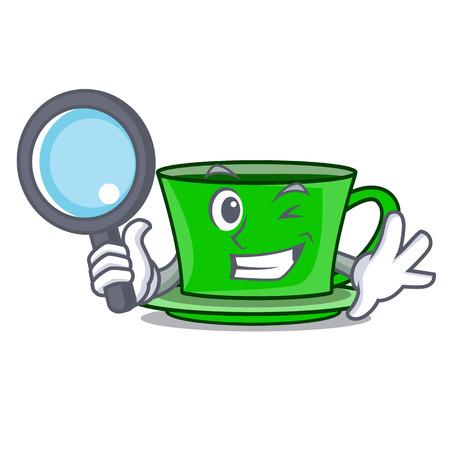Detective green tea character cartoon vector illustration