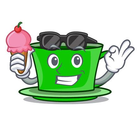 With ice cream green tea character cartoon vector illustration