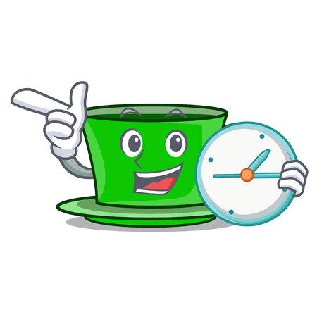 With clock green tea character cartoon vector illustration
