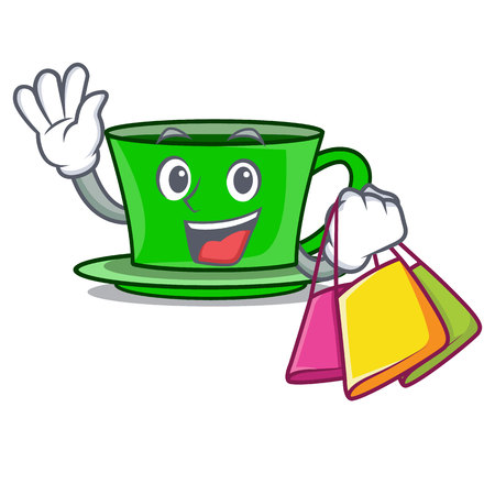 Shopping green tea character cartoon vector illustration Vettoriali