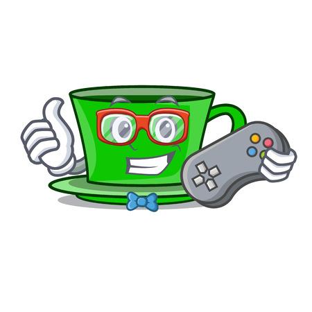 Gamer green tea character cartoon vector illustration