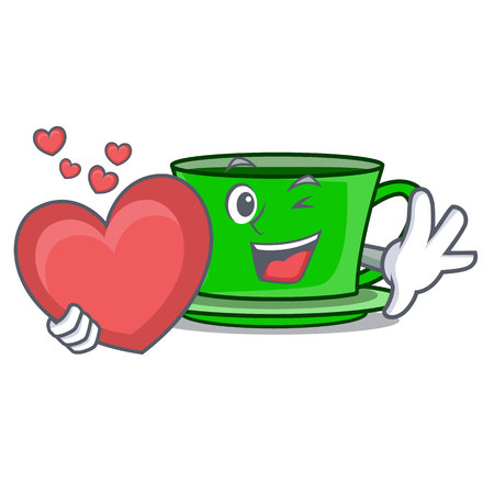 With heart green tea mascot cartoon vector illustration