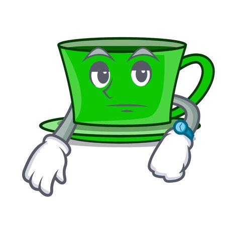 Waiting green tea mascot cartoon vector illustration
