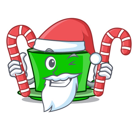 Santa with candy green tea mascot cartoon vector illustration