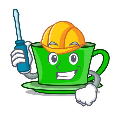 Automotive green tea mascot cartoon vector illustration