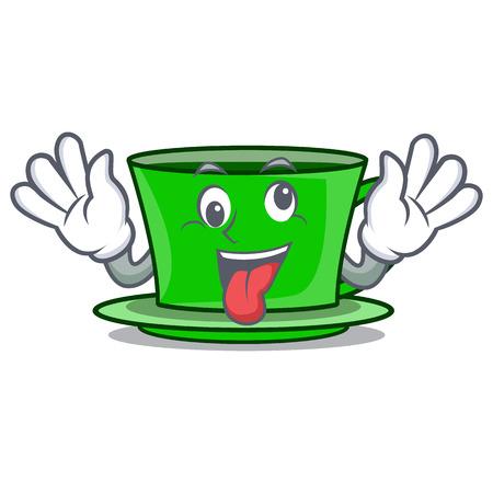 Crazy green tea mascot cartoon vector illustration Çizim