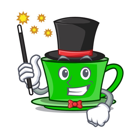 Magician green tea mascot cartoon vector illustration