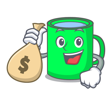 With money bag mug character cartoon style vector illustration