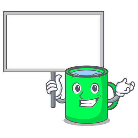 With board mug character cartoon style vector illustration Illustration