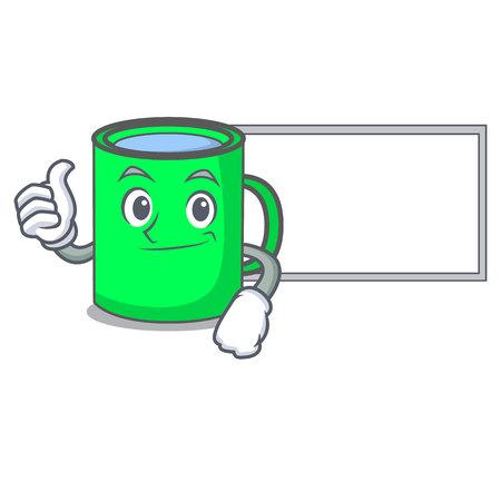 Thumbs up with board mug character cartoon style vector illustration Illustration