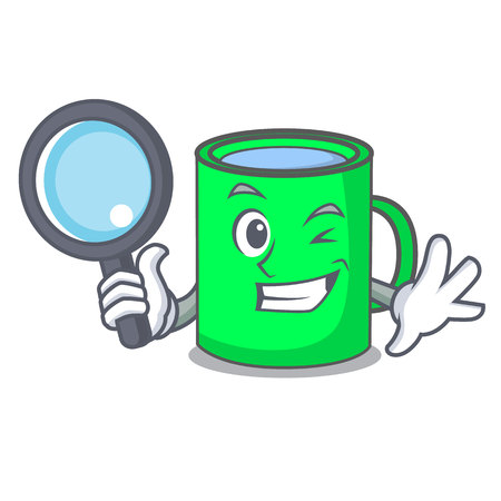 Detective mug character cartoon style vector illustration
