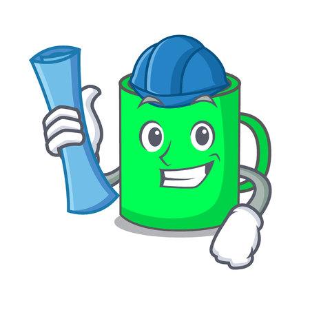 Architect mug character cartoon style vector illustration Vektorové ilustrace
