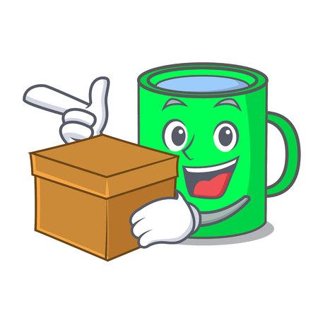 With box mug character cartoon style vector illustration