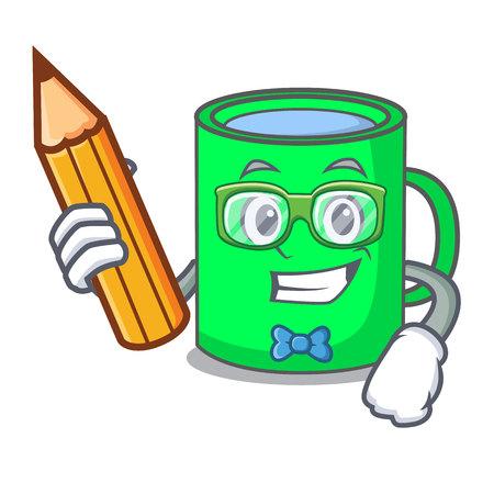 Student mug character cartoon style vector illustration