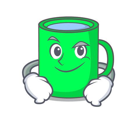 Smirking mug character cartoon style vector illustration