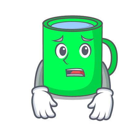 Afraid mug mascot cartoon style vector illustration