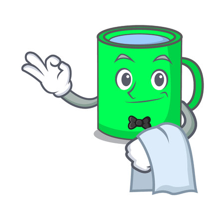 Waiter mug mascot cartoon style vector illustration Illustration