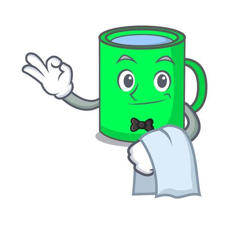 Waiter mug mascot cartoon style vector illustration