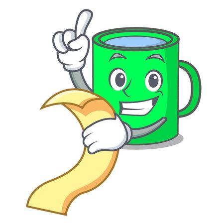With menu mug mascot cartoon style vector illustration