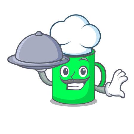 Chef with food mug mascot cartoon style vector illustration Illustration