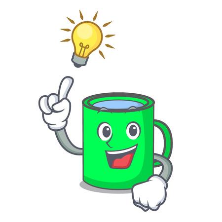 Have an idea mug mascot cartoon style vector illustration