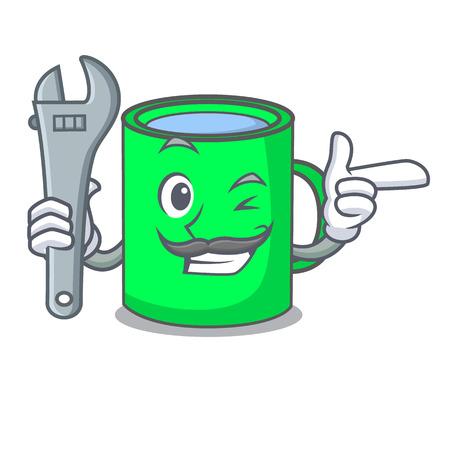 Mechanic mug mascot cartoon style vector illustration