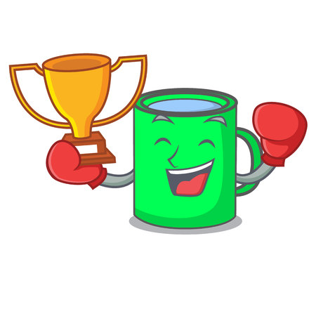 Boxing winner mug mascot cartoon style vector illustration